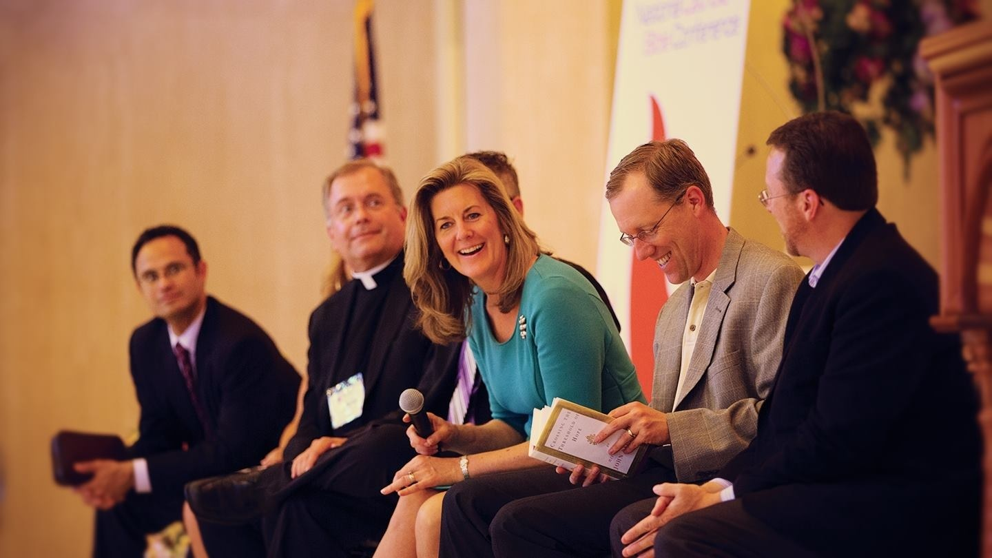 Sarah Christmyer on a panel at the National Catholic Bible Conference with Dr. Edward Sri, Fr. Dennis Gill, Dr. Tim Gray, and Thomas Smith