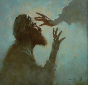 Painting by Brian Jekel of Jesus healing a blind man