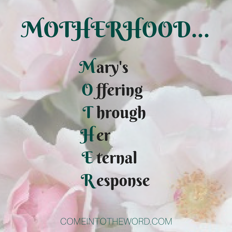 Motherhood...Mary's Offering Through Her Eternal Response (fiat meme)