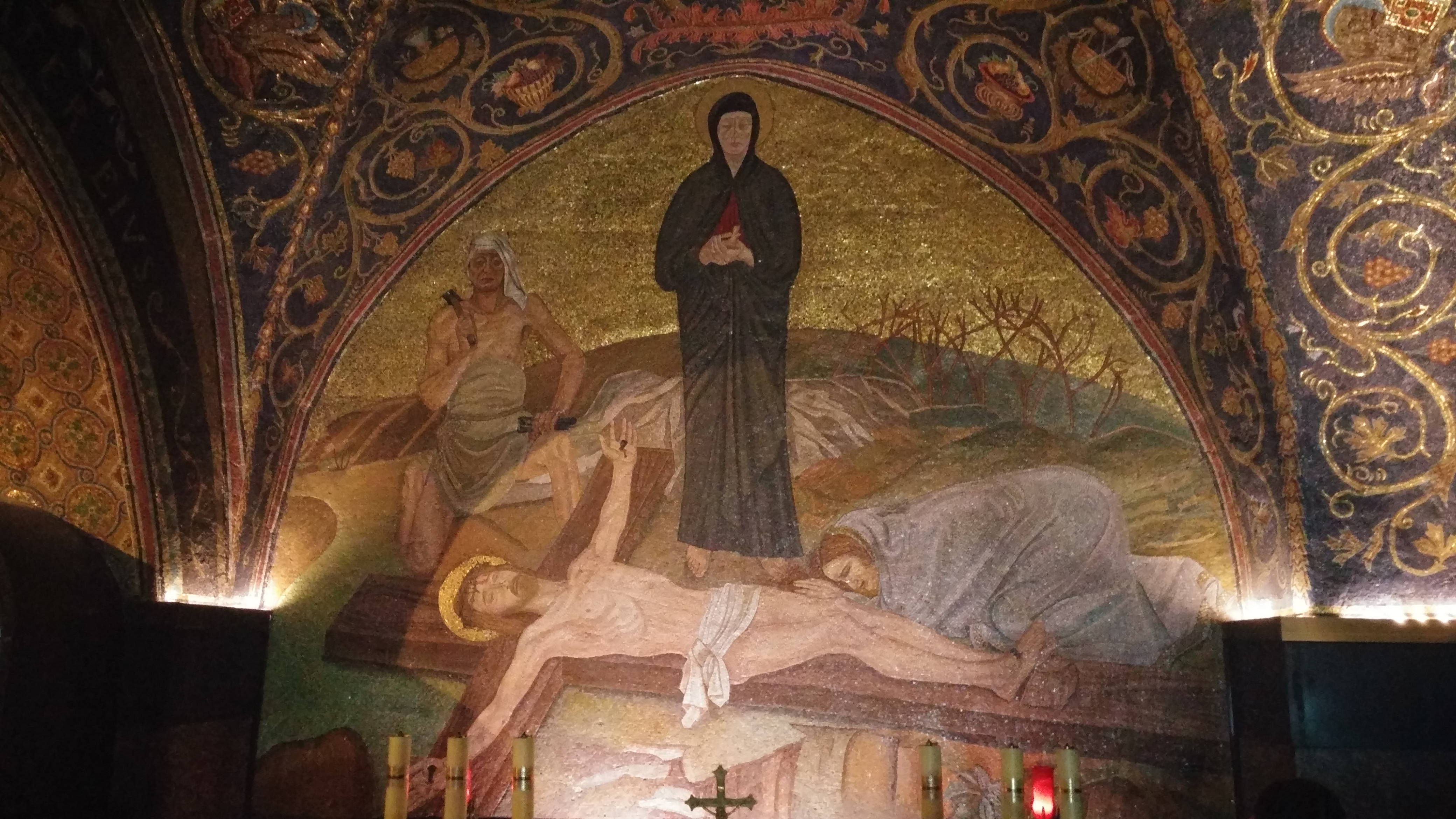 Mosaic of Jesus nailed to the cross (Holy Sepulchre, Jerusalem) Photo ©2017 Sarah Christmyer. All rights reserved.