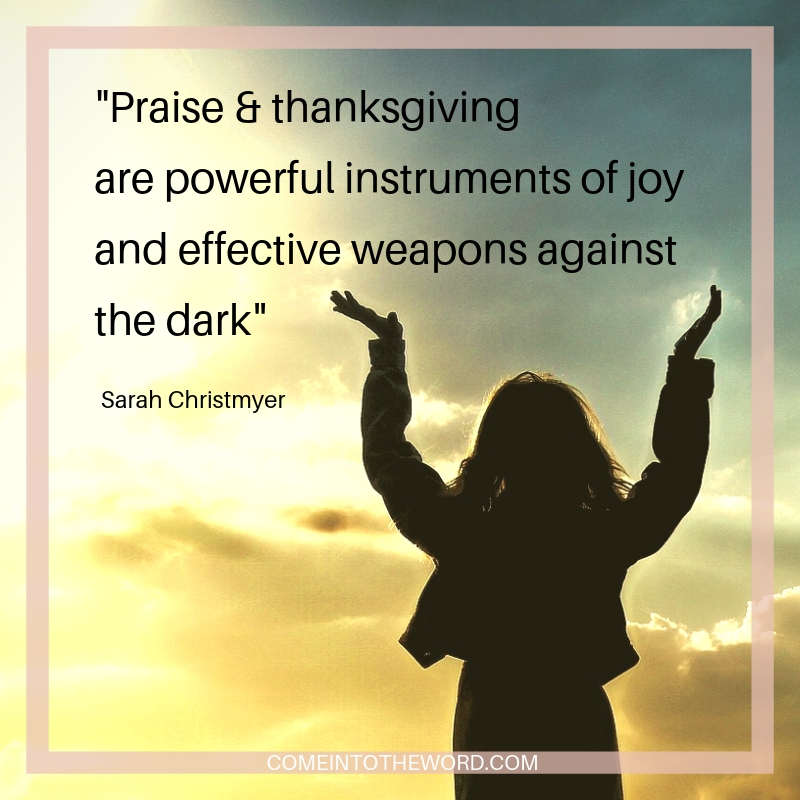 """""""Praise and thanksgiving are powerful instruments of joy and effective weapons against the dark"""" - Sarah Christmyer"""