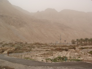 The Judean desert on a dusty day
