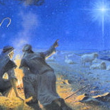 Shepherds in field pointing at star over Bethlehem