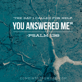 """The day I called for help you answered me"" - Psalm 138. Picture of a tree reaching out for help. God answers prayer."
