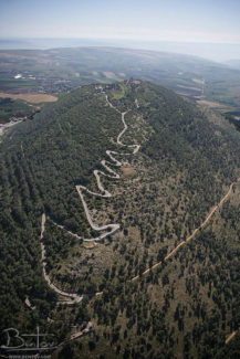 The winding narrow road to the top of Mt Tabor, Israel