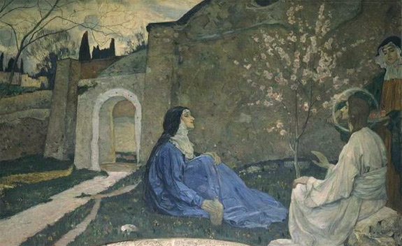 Christ with Martha and Mary' by Mikhail Nesterov (1911)