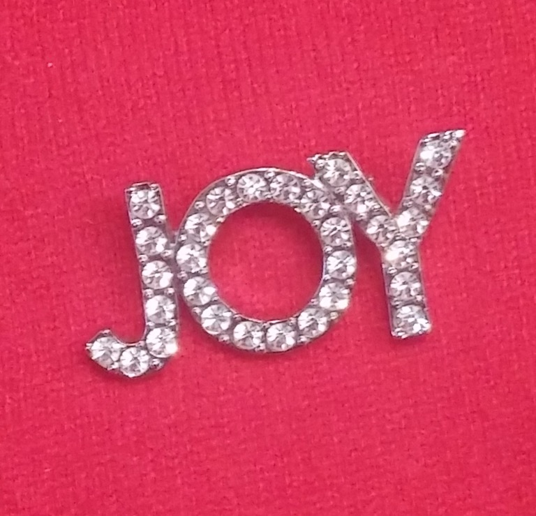 """Joy"" rhinestone pin on red sweater"